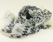 Ivory and Navy Blue Color Print Long Scarf .