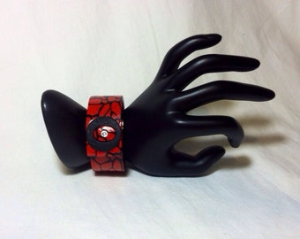 Red and Black Giraffe Print Polymer Clay Cuff with Crystal