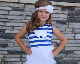 Girls Dress-Navy and White Stripe Top-Navy and White Polka Dot Dress-Boutique Dress-Ruffle Dress-Ruffle Top