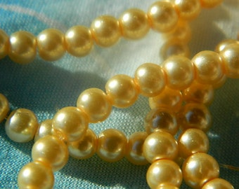 Glass Pearl Beads 2 mm Yellow