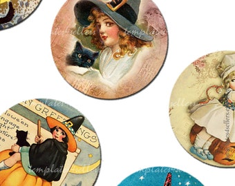 Digital Collage Sheet  Halloween 1 inch round vintage images Pendants Printable Original  4x6 inch sheet  108