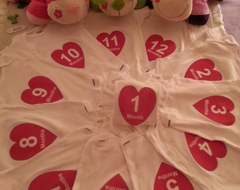 Month By Month onesies Heart