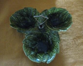 Mid-Century GreenDrip  Leaf California USA Pottery #724, Three Section Relish Dish