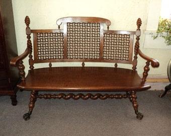 Merklen Brothers Oak Hall Bench , circa 1885 to 1890., on Sale!