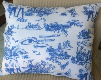 Trekkie Pillow, Throw pillow,couch pillow, Toile de jouy with a twist- Spock and Kirk, with the Enterprise. Approximately16 by 16 inches.