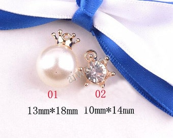 6 pcs Handmade Alloy Charm, Gold Tone Bead Rhinestone Pearl Jewelry Accessories