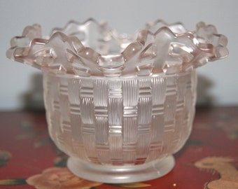 Fenton Woven Bowl...Basketweve With Open Edge.. Art Glass Bowl... by Fenton