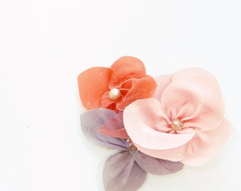 Silk Flower Headpiece on Small Scissor Clip - Bridesmaids Colourful Floral Hair Accessory