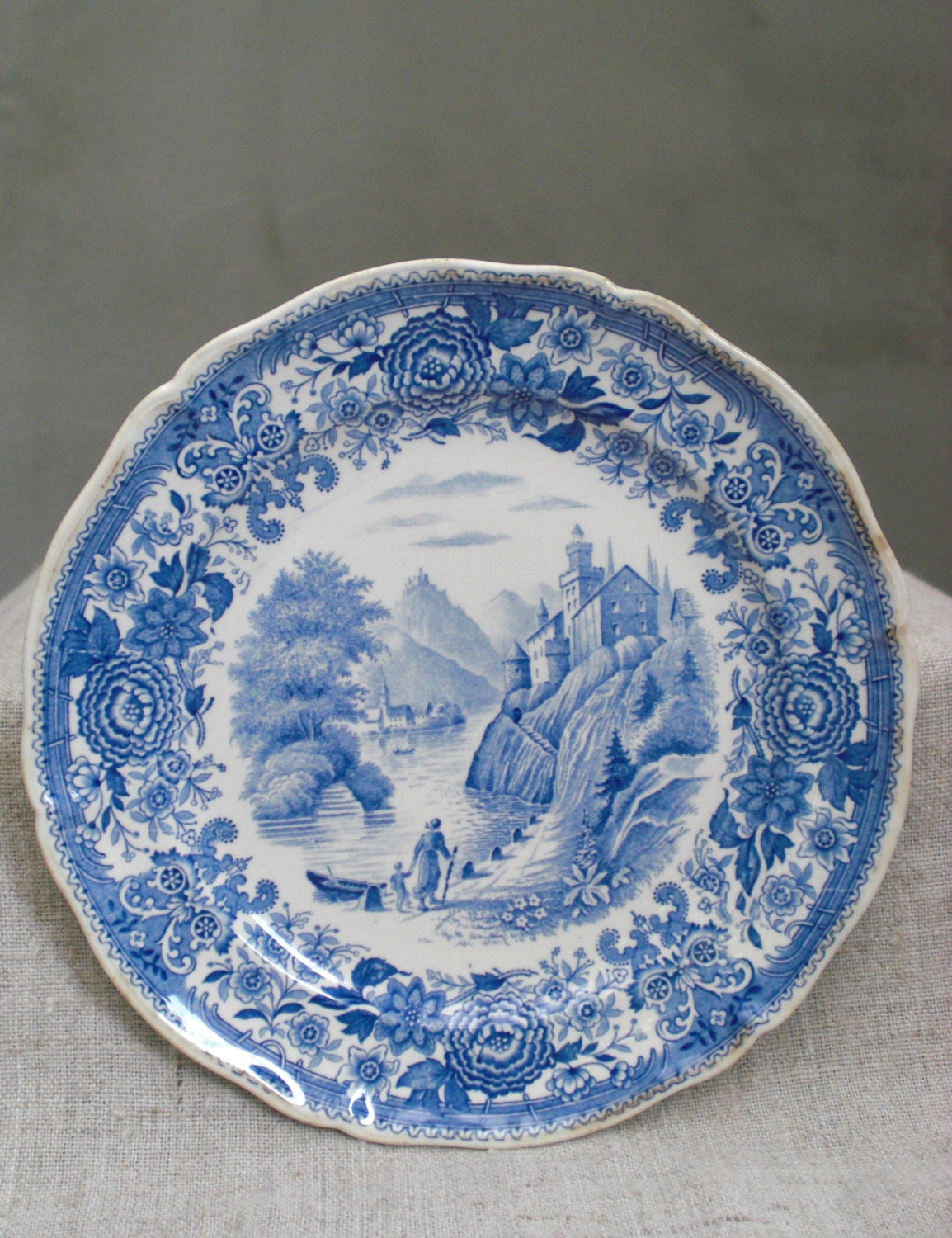 Blue and white plate antique old villeroy boch transferware for Villeroy and boch plates