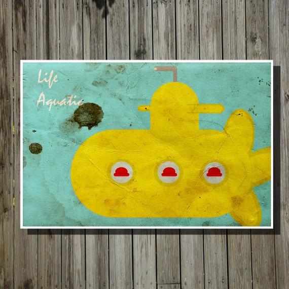 Life aquatic poster movie art minimalist poster by for Minimalist living movie
