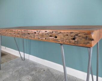 "Reclaimed wood bench with 16"" hairpin legs - douglas fir lumber"