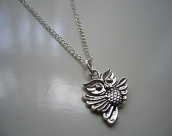 Owl Necklace - Antique Silver Owl Necklace - Owl Pendant Charm - Miniature Owl- Nickel Free