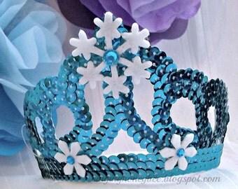 Princess birthday tiara, princess birthday crown, snowflake tiara, birthday hat, princess dress up tiara, princess birthday