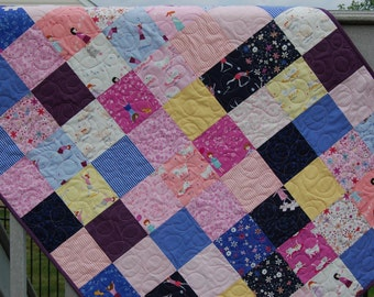 SALE  Baby girl quilt, crib quilt, Moda Hello Petal, pink-purple-yellow