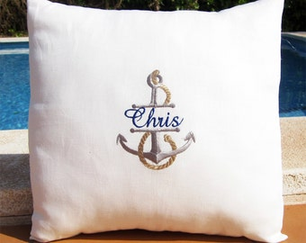 Personalized Embroidered Throw Accent nautical Pillow Cover - Yacht Club - 100% Linen Beach Decor Coastal Boat Gift