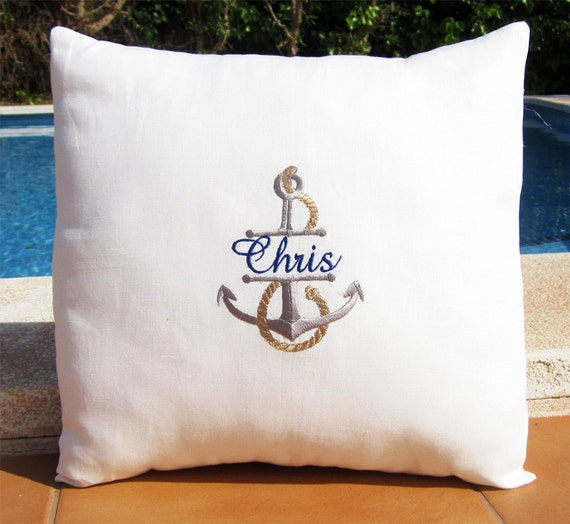 Personalized Embroidered Throw Pillows : Personalized Embroidered Throw Accent nautical Pillow Cover