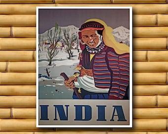 Vintage Art India Poster Asian Wall Decor Travel Print (AJT33)