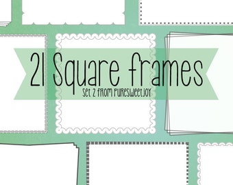 21 grayscale square frame borders with detail {set 2}. Instant download