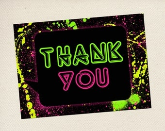 Glow In The Dark Party Thank You Cards