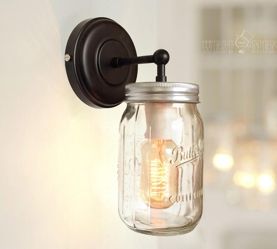 Glass Jar Wall Lights : modern mason jar wall sconce lamp hand blown by AugustRushLights