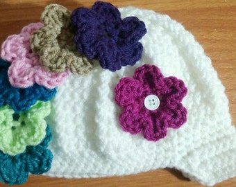 Baby Girl Hat, Baby Hat, Crochet Beanie hat,Crochet Flower Hat, Crochet Baby Hat, Sizes 0-12 Months