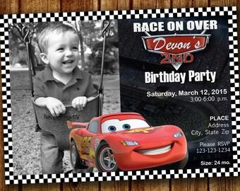Disney Cars Lightning McQueen Birthday Invitation Save-the-Date