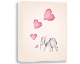 Baby Elephant Canvas - Baby Girl Nursery - Girl Nursery Decor - Pink and Gray - Custom Color - Nursery Art - Elephant - CANVAS - E281