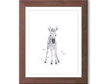Watercolor Baby Zebra - Baby Girl Nursery Art - Safari Animal Nursery Decor - Pink and Gray Wall Art - Z201