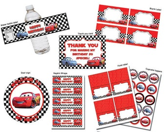 instant dl cars disney birthday party package printable set non personalized