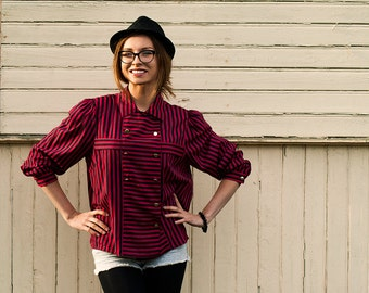 Vintage Women's Black and Red Blouse with Stripes and Golden Buttons / Oversize Blouse