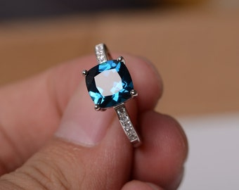 London Blue Topaz Ring Sterling Silver Ring Gemstone Jewelry Engagement Ring Promise Ring For Women