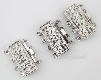 Fashion Style 4 Sets Jewelry Clasps,4 Rows Rectangle Clasp,Insert Clasp,Necklace Clasp,Bracelet Clasp,Clasp Charms,Clasp Findings--BN009