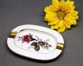 VINTAGE Women's Ceramic Ashtray.  Rose Ashtray. Dainty Ashtray