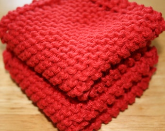 Red Knit Dish Cloth, Red Knit Dishcloth, Set of 2