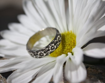 Sterling Silver Flower Stacking Ring, Thick Band, Antiqued or Polished finish, Stacking Band