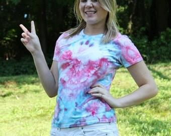 Tie Dyed shirt - Ice Dyed - bullseye - pink  blue - Upcycled Clothing