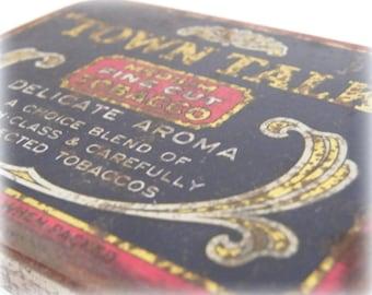 Tobacciana Smoking Accessories Vintage Tin Tobacco Tin Gift For Him Town Talk Home Decor Rustic Vintage Tobacco Tin