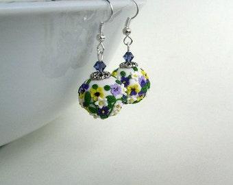 Polymer filigree earrings - violet