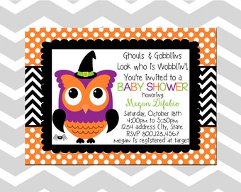 Owl Baby Shower Invitation/Card Halloween Baby Shower Invitation/Card Owl Halloween Baby Shower