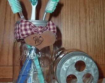 Primitive Farm House Mason Jar Toothbrush Holder~Vintage Country~Farmhouse~Cottage~Bathroom Decor