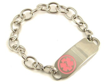 Stainless Steel Engraved  COUMADIN  Medical ID Bracelet 4 Tag Color Choices
