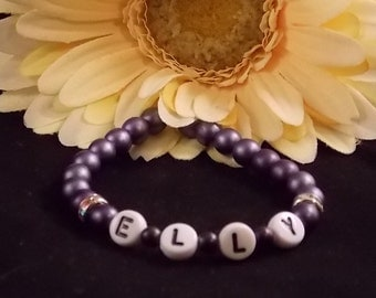 Girls Beaded Name Bracelet; Name Bracelet; Stretch Bracelet