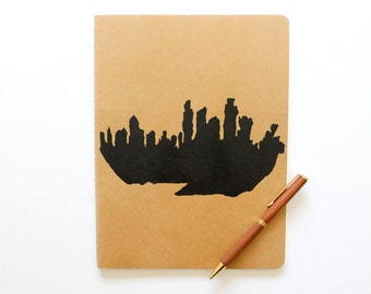 "Blank Moleskine Journal - screen printed Ghost City unlined extra large kraft cahier notebook - 8.75"" x 10"" - gift idea"