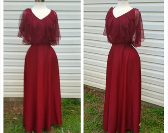 70s Gypsy Dress Flouncy Butterfly Sleeve Maroon S/M