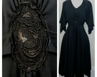 70s Boho dress flouncy black with sheer cameo lace detail at waist