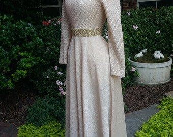 60s Maxi Dress Metallic Gold Stretch Long Sleeve S