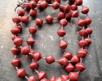Vintage Paper Beads Necklace,Pinky Red
