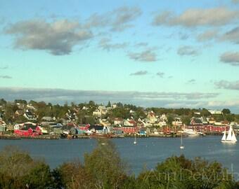 Photography, Lunenburg, Sailboats at Anchor, Nova Scotia, Coastal Fine Art Print, green, blue, red Home Decor, 5x7, 8x10, 11x14, Wall Art