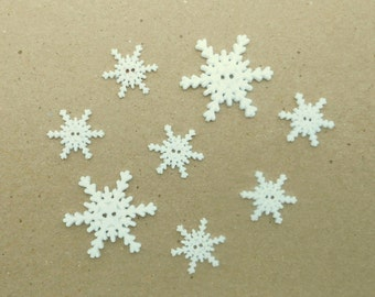 8 White Christmas Snowflake Buttons