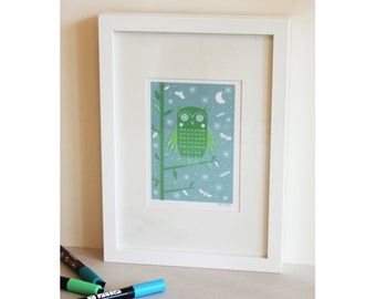 Owl Screen Print in Blue and Green